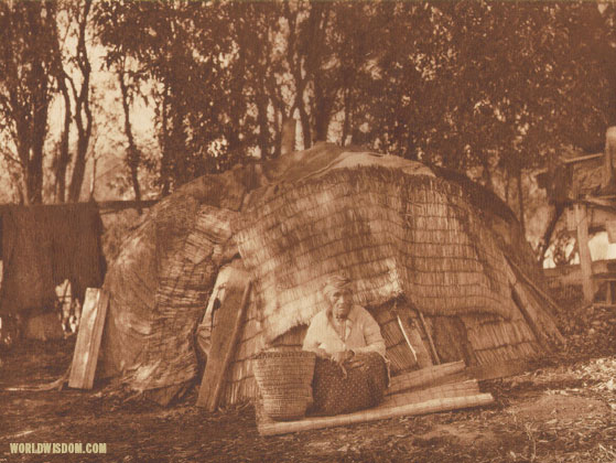 """Klamath tule hut - Klamath"", by Edward S. Curtis from The North American Indian Volume"
