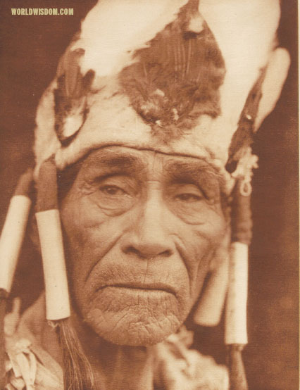 """A Klamath head-dress - Klamath"", by Edward S. Curtis from The North American Indian Volume 13"