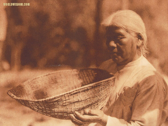 """Sifting basket"" - Miwok, by Edward S. Curtis from The North American Indian Volume 14"