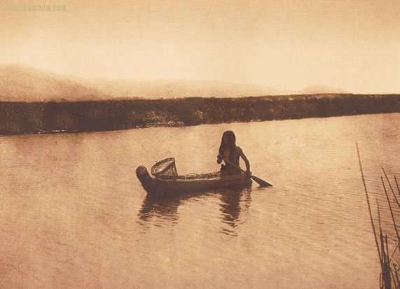 """In the tule swamp - Lake Pomo"" - Pomo, by Edward S. Curtis from The North American Indian Volume 14"