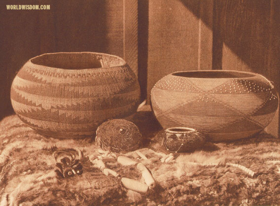 """Pomo baskets and magnesite beads"", by Edward S. Curtis from The North American Indian Volume 14"