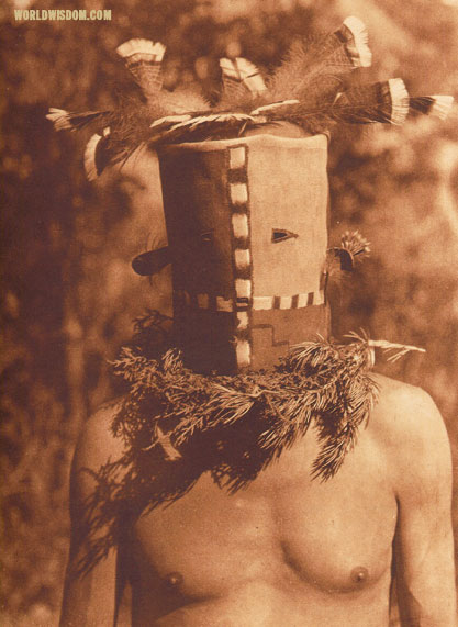 """Tyo'oni Shiwanna mask"" - Cochiti, by Edward S. Curtis from The North American Indian Volume 16"