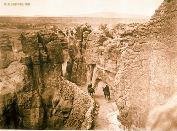 """Old trail at Acoma"", by Edward S. Curtis from The North American Indian Volume 16"