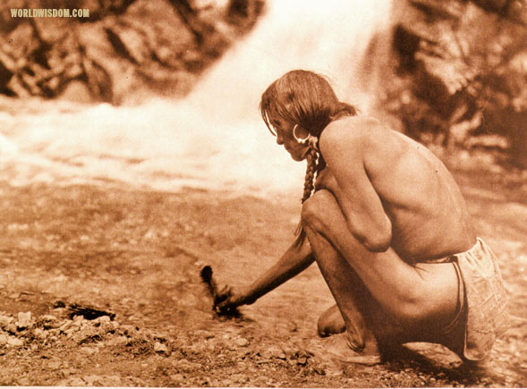 """Offering at the waterfall - Nambe"", by Edward S. Curtis from The North American Indian Volume 17"