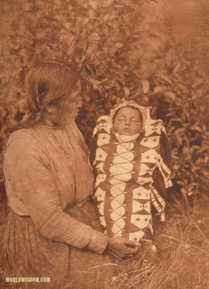 """Isqe-sis - 'Woman Small' - and child"" - Cree, by Edward S. Curtis from The North American Indian Volume 18"