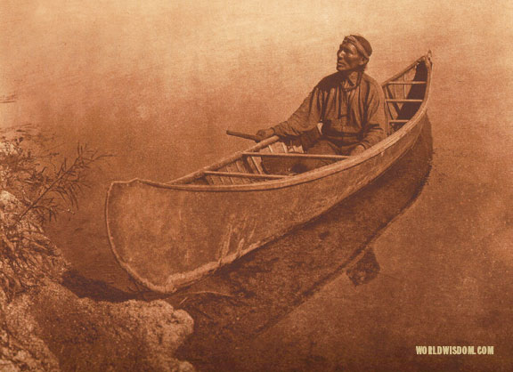 """A Cree canoe"", by Edward S. Curtis from The North American Indian Volume 18"