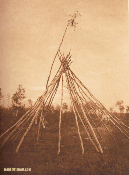 """Frame of the sponsor's tipi, Cree sun-dance"", by Edward S. Curtis from The North American Indian Volume 18"
