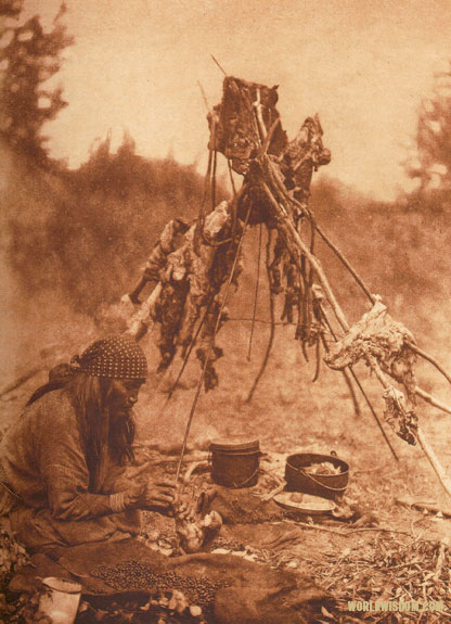 """A Sarsi kitchen"", by Edward S. Curtis from The North American Indian Volume 18"