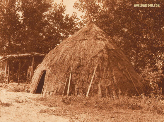 """Old grass-house"" - Wichita, by Edward S. Curtis from The North American Indian Volume 19"