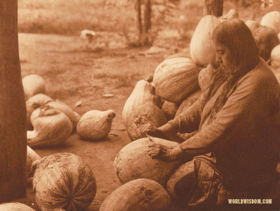 """Peeling pumpkins"" - Wichita, by Edward S. Curtis from The North American Indian Volume 19"