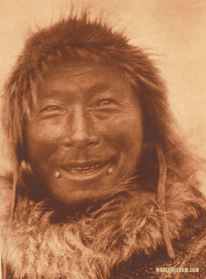 """A Nunivak hunter"", by Edward S. Curtis from The North American Indian Volume 20"