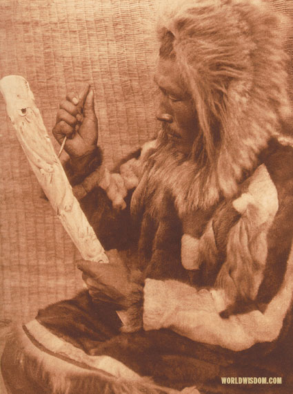 """The ivory carver"" - Nanivak, by Edward S. Curtis from The North American Indian Volume 20"