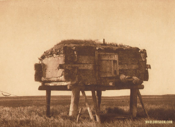 """Food caches"" - Eskimo of Hooper Bay, by Edward S. Curtis from The North American Indian Volume 20"