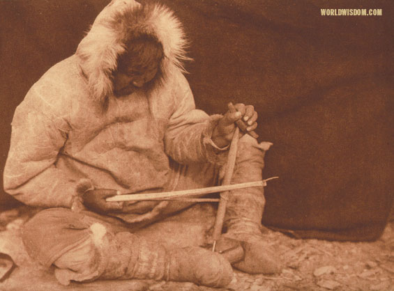 """The bow-drill"" - Eskimo of King Island, by Edward S. Curtis from The North American Indian Volume 20"
