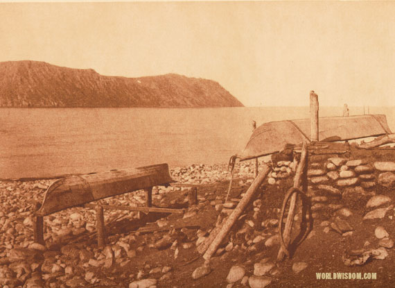 """Walrus boats, Big Diomede in distance"" - Eskimo of Little Diomede Island, by Edward S. Curtis from The North American Indian Volume 20"