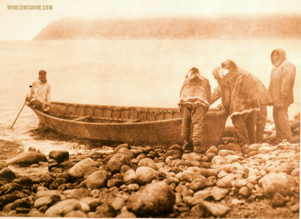 """Launching the boat"" - Eskimo of Little Diomede Island, by Edward S. Curtis from The North American Indian Volume 20"