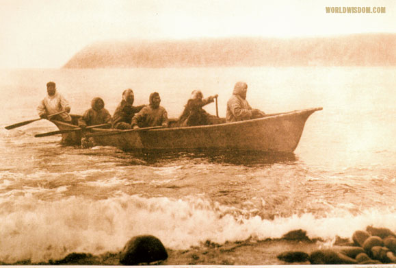 """Diomede boat crew, Asiatic shore in distance"" - Eskimo of Little Diomede Island, by Edward S. Curtis from The North American Indian Volume 20"