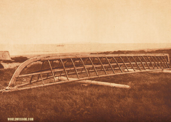 """Umiak frame"" - Kotzebue, by Edward S. Curtis from The North American Indian Volume 20"