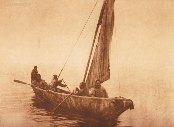 """The umiak"" - Kotzebue, by Edward S. Curtis from The North American Indian Volume 20"