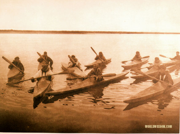 """Noatak kayaks"", by Edward S. Curtis from The North American Indian Volume 20"