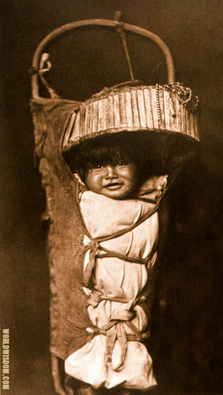 """An Apache Babe"" - Apache, by Edward S. Curtis from The North American Indian Volume 1"