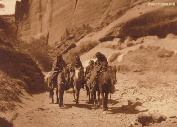 """Through the cañon""- Navaho, by Edward S. Curtis from The North American Indian Volume 1"